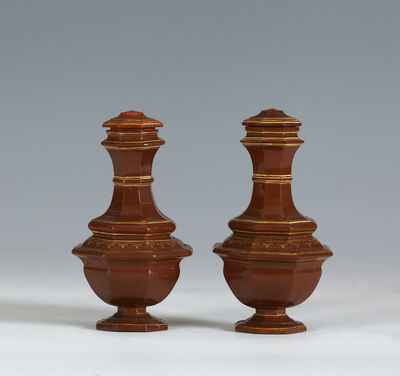 Meissen Porcelain Factory, 'A PAIR OF MEISSEN BÖTTGER STONEWARE VASES AND COVERS', 1710-1713