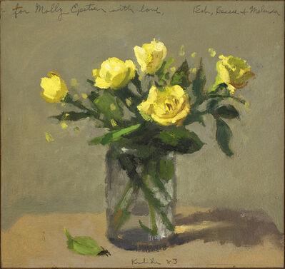 Robert Kulicke, 'Yellow Roses in a Glass with Fallen Leaf', 1983
