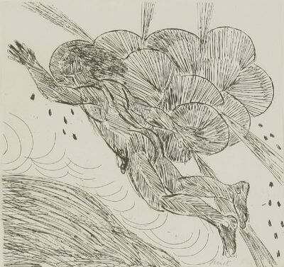 Elisabeth Frink, 'I Flew Through a Black Cloud and the Winds Came Up from the Hills Below Me (Wiseman 138)', 1987