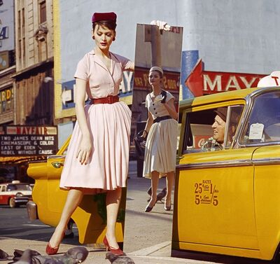 William Klein, 'Anne + Isabella + Mirror + Taxi, Broadway & 46th Street, New York', 1959
