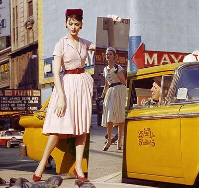 William Klein, 'Anne + Isabella + Mirror + Taxi, Broadway & 46th Street, New York', 1959