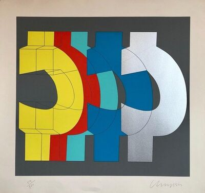 Chryssa Vardea-Mavromichali, '1970's Large Silkscreen Abstract Geometric  Day Glo Serigraph Pop Art Print Chin', 1980-1989