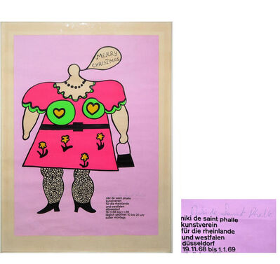 "Niki de Saint Phalle, '""Merry Christmas"", SIGNED, Exhibition Poster, Color Serigraph, Art Association for the Rhineland and Westphalia Dusseldorf.', 1969"