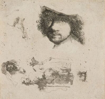 Rembrandt van Rijn, 'Sheet of Studies: Head of Rembrandt, Beggar Couple, Heads of Old Man and Old Woman, etc.', 1632