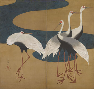 Suzuki Kiitsu, 'Cranes. Japan, Edo Period (1615–1868)', ca. 1828–early 1830s
