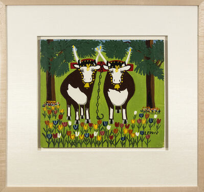 Maud Lewis, 'Two Oxen in Spring with Blue and Red Tulips'
