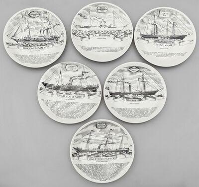Piero Fornasetti, 'Six plates from 'vecchie navi della flotta Florio' series 60s.'