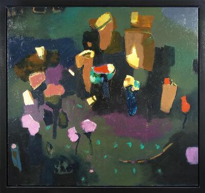 Jennifer Hornyak, 'Sweeping Green with Vermillion - large green, pink, orange floral still life oil', 2018
