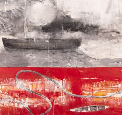 Rick Rivet, 'Northwest Passage No 10 - red, black, indigenous, abstract, acrylic on canvas', 2019