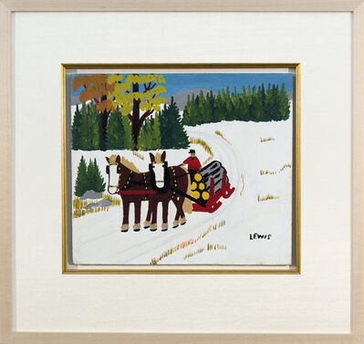 Maud Lewis, 'Two Horses Pulling Logging Sled in Winter', 1963-1964