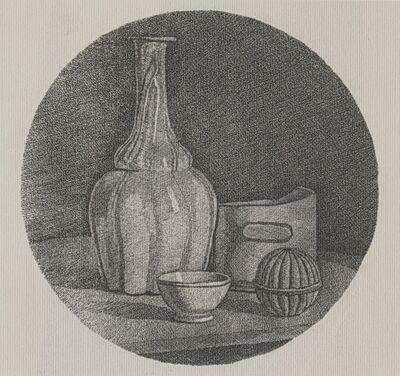 Giorgio Morandi, 'Grande natura morta circolare con bottiglia e tre oggetti', 1946