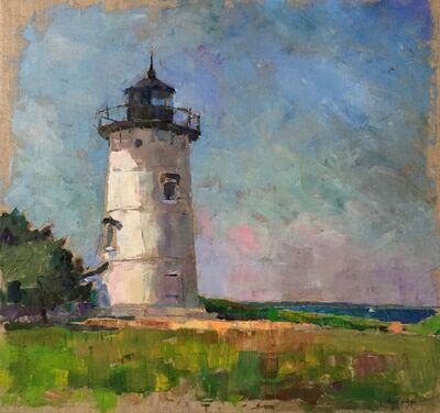 "Larry Horowitz, '""East Chop Light"" oil painting of Martha's Vineyard White Lighthouse', 2019"