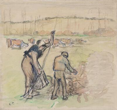 Camille Pissarro, 'Paysanne et enfant faisant du feu', ca. 1888