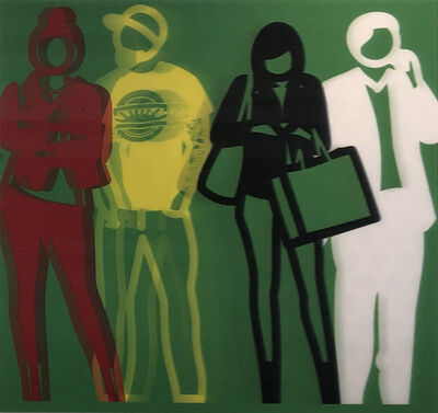 Julian Opie, 'Standing People, Red Yellow Black White', 2019