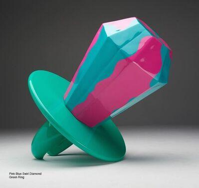 Jonathan Paul (aka Desire Obtain Cherish), 'Married to Success - Blue Green Pink Swirl Diamond, Green Ring', 2014
