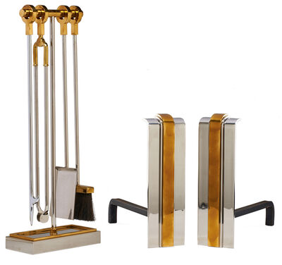 Danny Alessandro Ltd., 'Set of fireplace tools and pair of andirons, USA', 1970s