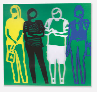 Julian Opie, 'Standing People (Yellow,Black,White, Blue)', 2019