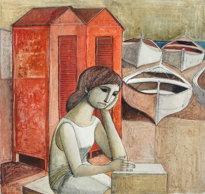 Lucio Ranucci, 'Girl Waiting at Boat Docks', 1973