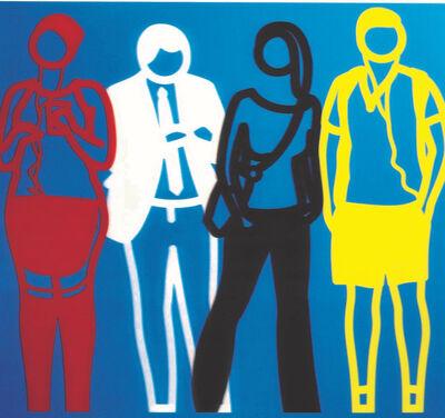 Julian Opie, 'Standing people (red white black yellow)', 2020