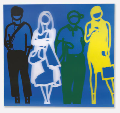 Julian Opie, 'Standing People (Black, White Green, Yellow)', 2019