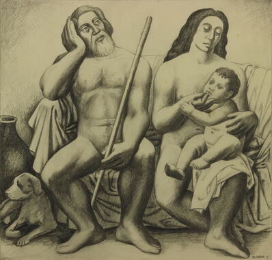 Emil Bisttram, 'Adam & Eve and the First born', 1931