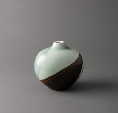 "Fance Franck, 'Oval vase, ""flow study"" in saturated iron and celadon glazes with grey black spots'"