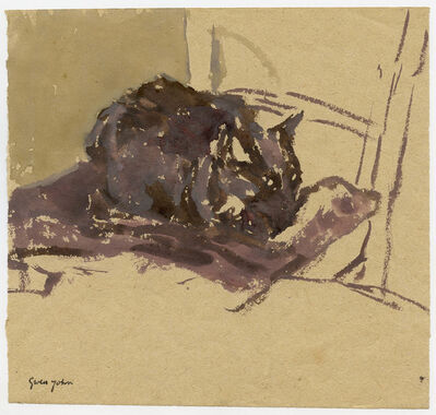 Gwen John, 'Black Cat, Facing Right, on Chair', Executed probably late 1910s -early 1920s