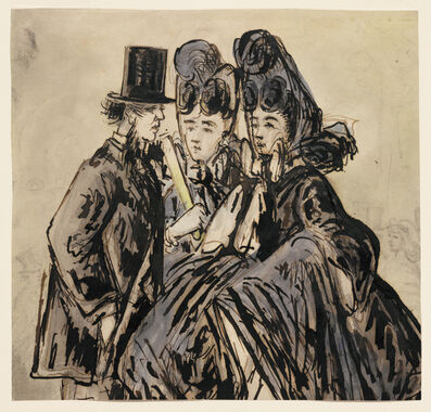Constantin Guys, 'A Gentleman and Two Ladies', 1860s