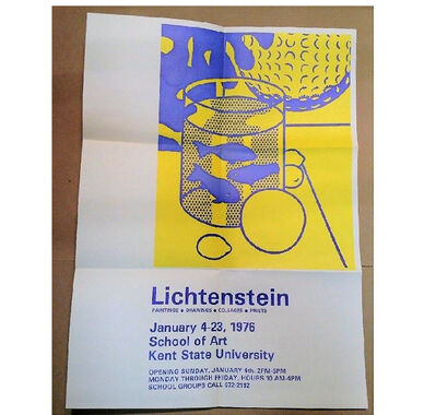 "Roy Lichtenstein, '""Lichtenstein- Paintings/Drawings/Collages/Prints"", Exhibition Invite/Mailer, School of Art Kent State University', 1976"