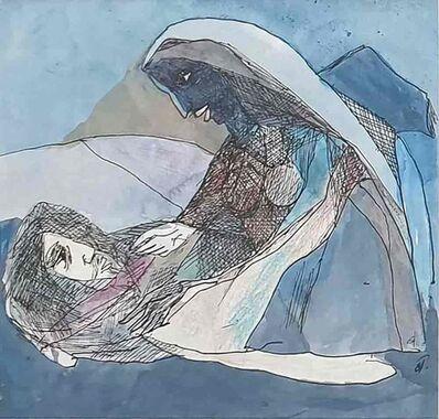 "Badri Narayan, 'The Sleeping Monk & Woman, Watercolour on Paper by Padmashree Modern Artist ""In Stock""', 2007"