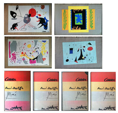 Alexander Calder, 'WALLPAPER SAMPLE PORTFOLIO, 1949,  by Matisse, Calder, Miro, and Matta, 4- Silkscreens on Canvas/Burlap, with Original Folders, MUSEUM QUALITY, VERY RARE', 1949