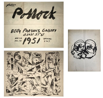 "Jackson Pollock, '2 PIECE SET- ""Jackson Pollock"", 1951, Betty Parsons Gallery NYC, Exhibition Invitation/Poster & Catalogue', 1951"