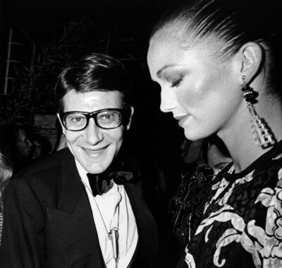 "Ron Galella, 'Yves Saint-Laurent with ""Opium"" model at the party for his new fragrance ""Opium"", New York City', 1978"
