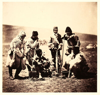 Roger Fenton, 'Captain Pechell and Men of the 77th Regiment, Winter Dress.', ca. 1855
