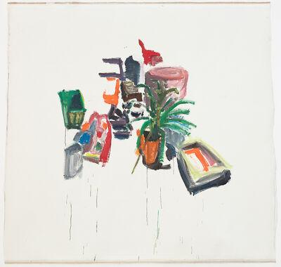 Damien Cabanes, 'Plante au pot orange et objets abstraits sur fond blanc ', 2018