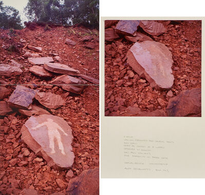 Andy Goldsworthy, 'A stone laid on previously for several hours/slow rain dried as quickly as it wetted/returned in summer sun and showers five shadows in three days/Gatelawbridge Dumfriesshire', July 1993