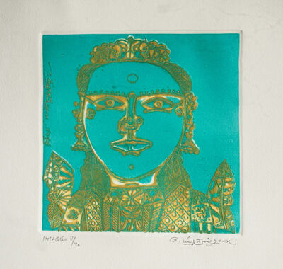 Laxma Goud, 'Unique South Indian Woman, Figurative, Etching in green & yellow Color by Indian Artist Laxma Gaud', 2017