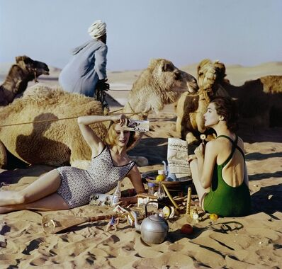 William Klein, 'Tatiana + Marie Rose + Picnic + Camels, Morocco', 1958