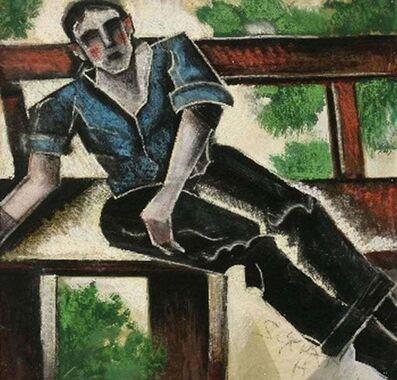 "Hugó Scheiber, '""Man on a Bench"" Hungarian Futurist, Expressionist, Figurative Portrait Modern', ca. 1920s"