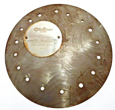 """Lucio Fontana, 'For the true Renaissance man or woman: """"Discus"""", Commissioned by Alfa Romeo, Signed by Lucio Fontana, with engraved plaque for race car driver Dmitri Nabokov (son of Vladimir Nabokov) from the collection of the Metropolitan Opera's renowned doctor ', 1964"""