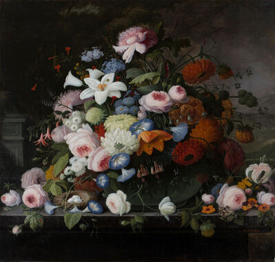 Severin Roesen, 'Tabletop Floral with Landscape', ca. 1860
