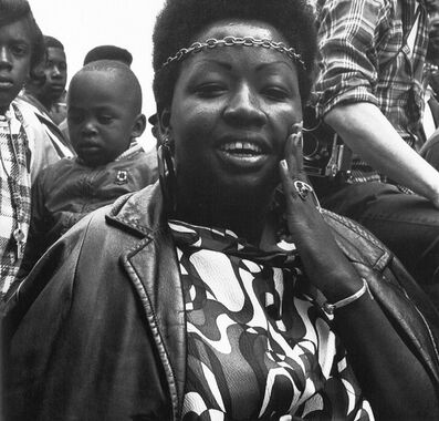 Ruth-Marion Baruch, 'Entertainer at the Free Huey Rally, Bobby Hutton Memorial Park, Oakland, CA', 1968