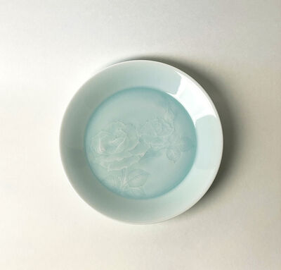 Tsukamoto Kaiji, 'Pale Blue Porcelain with Incised Rose Design ', N/A