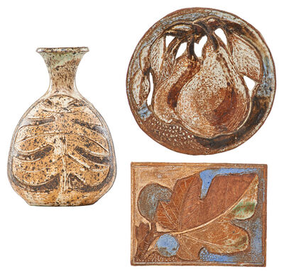 Marguerite Wildenhain, 'Three works, Guerneville, CA: vase with leaves, tile with figs, and roundel with pears'