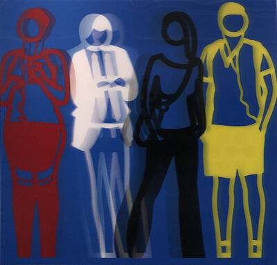 Julian Opie, 'Standing People, Red White Black Yellow', 2019