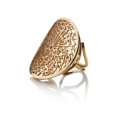 Hasbani Diamonds, 'Parisa London Calligraphy Ring 18 Karat Ruby Gold Designer Talisman British Mark', ca. 2019