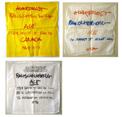 "Robert Rauschenberg, '""Jammers"" and ""Horfrost"", Three Silk Screened Gallery Invitations on Handkerchiefs', 1974-76"