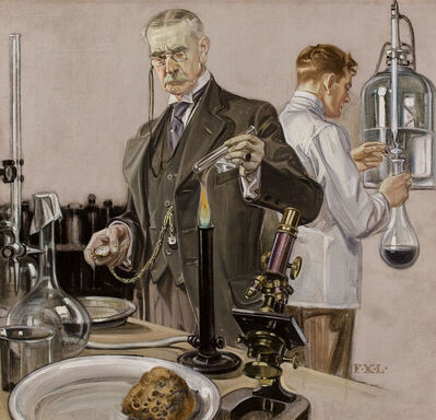 Francis Xavier Leyendecker, 'Timing an Experiment, Howard Watch Advertisement Illustration', 1910