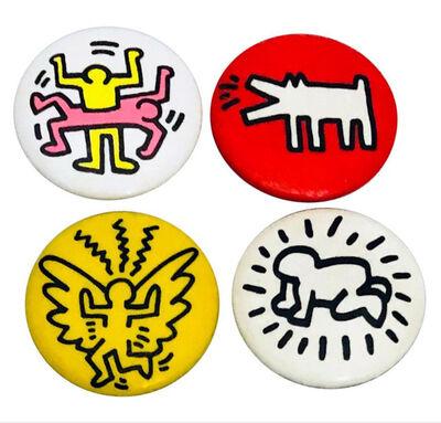 Keith Haring, 'Keith Haring Pop Shop: Set of 4 Original Pins', ca. 1986
