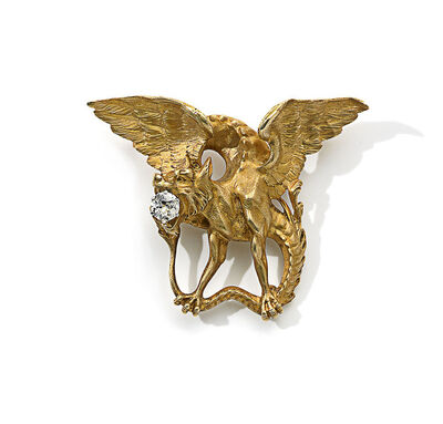 Bapst et Falize, 'Chimera Brooch in gold with diamond', ca. 1895